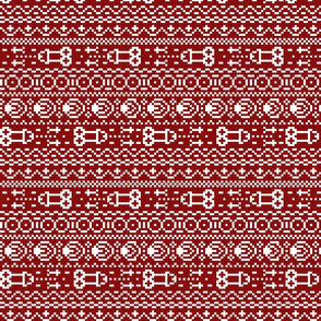 fair isle NSFW burgundy and white