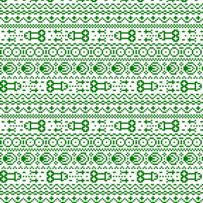 fair isle NSFW green and white