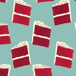 Red Velvet Cake Slices (small scale, mint background)