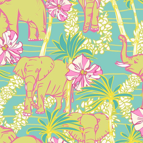 Tropical Elephants with Flower Leis & Palm Trees
