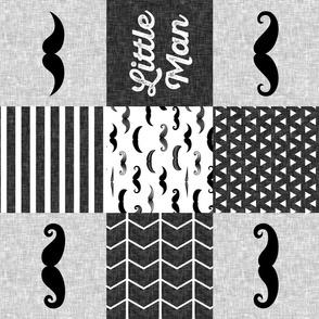 little man mustache wholecloth - monochrome (90) C18BS