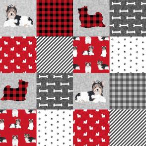 biewer terrier cheater quilt fabric - dog breed fabric, dog breed, pet quilt a, red and black patchwork plaid, dog quilt