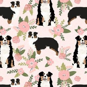 tricolored aussie dog floral fabric - cute dog breeds fabric, dog breed floral fabric, australian shepherd fabric - pink