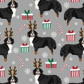 bernese mountain dog reindeer fabric - christmas dog fabric, dog fabric, bernese mountain dog fabric, christmas dog fabric, christmas fabric - grey