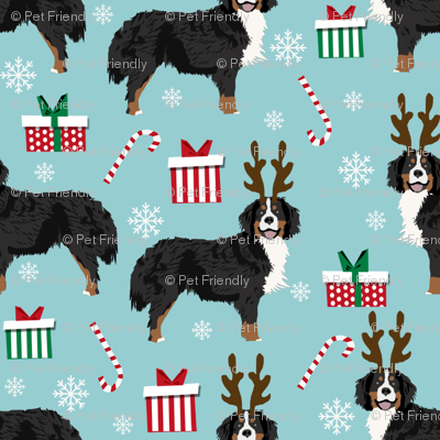 bernese mountain dog reindeer fabric - christmas dog fabric, dog fabric, bernese mountain dog fabric, christmas dog fabric, christmas fabric -  blue