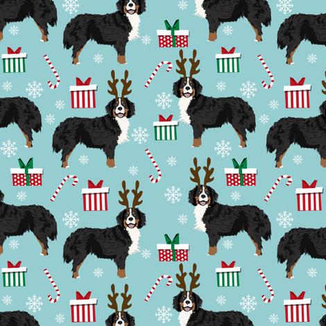 bernese mountain dog reindeer fabric - christmas dog fabric, dog fabric, bernese mountain dog fabric, christmas dog fabric, christmas fabric -  blue fabric by petfriendly on Spoonflower - custom fabric