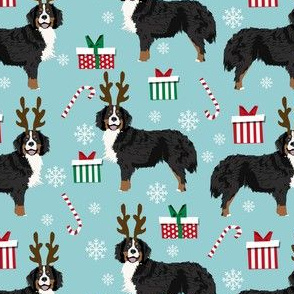 bernese mountain dog reindeer fabric - christmas dog fabric, dog fabric, bernese mountain dog fabric, christmas dog fabric, christmas fabric -  blue