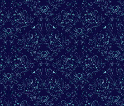 Skull Damask in blue  fabric by lucaswoolleydesigns on Spoonflower - custom fabric