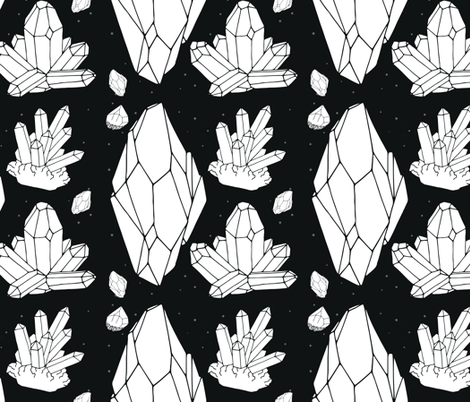 Black & White Crystal Madness fabric by mischievousdesign on Spoonflower - custom fabric