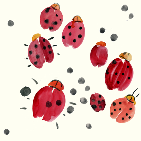 cestlaviv_ladybugs_clafouti fabric by @vivsbeautifulmess on Spoonflower - custom fabric