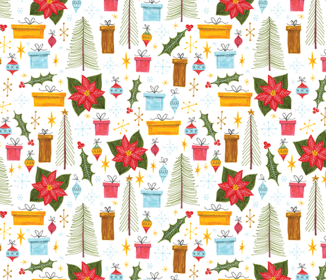 presents trees stars and ornaments fabric by swoldham on Spoonflower - custom fabric