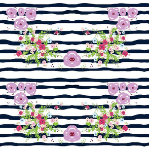 Purple passion Spring bouquet navy ribbon stripes - XLG17