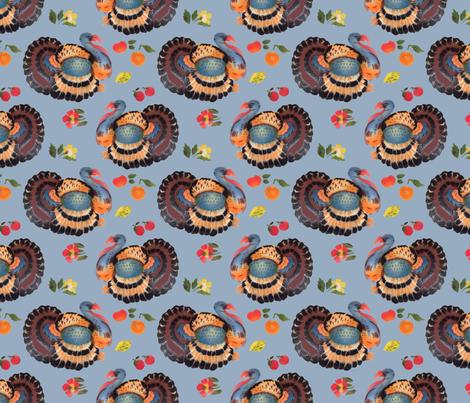 turkey day blue 6x6 fabric by leroyj on Spoonflower - custom fabric
