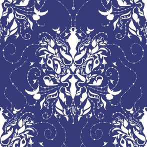 Cat Damask Indigo