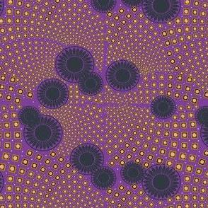 Square Floral Motifs Swirls Purple