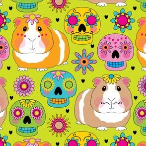 guinea-pigs-with-sugar-skulls on lime