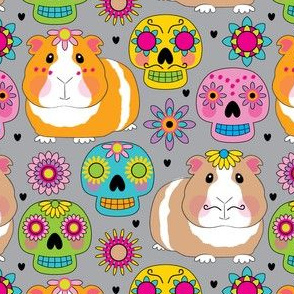 guinea-pigs-with-sugar-skulls-on-charcoal