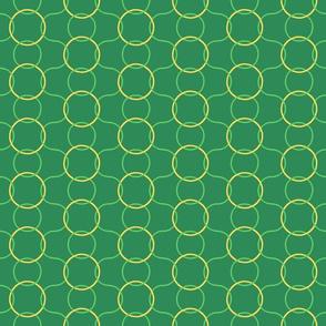 Celtic Rings block - Greens Gold reversed clean