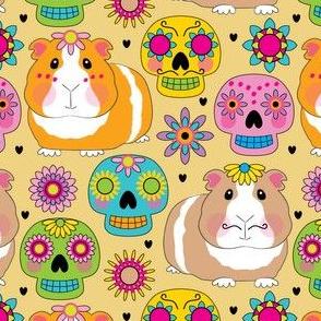 guinea-pigs-with-sugar-skulls-on-cream