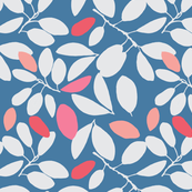 Foliage floral blue and coral