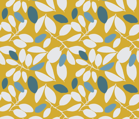 Foliage floral gold with blue fabric by robynhammonddesign on Spoonflower - custom fabric