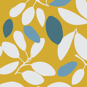 Foliage floral gold with blue