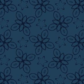 Geometric Flower Motif Faded Denim