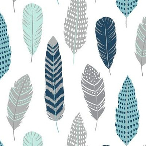 Feathers - Southwest Horizon Collection in Mint, Ocean and Navy