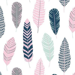 Feathers - Southwest Horizon Collection in spearmint, pink, navy and grey