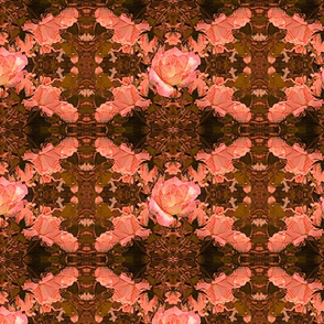 Autumn Roses Trellis Tapestry in Coral and Olive