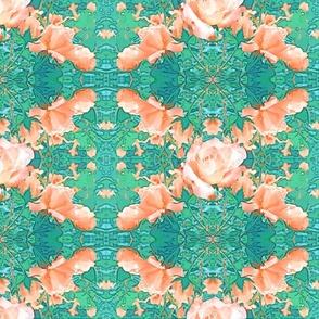 Rose Trellis in  Coral Pink and Aqua