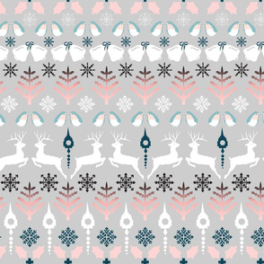 Fair Isle Christmas in grey and blue