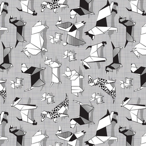 Origami doggie friends TEA TOWEL // repeated pattern rotated // grey linen texture background coloring paper Chihuahuas Dachshunds Corgis Beagles German Shepherds Collies Poodles Terriers Dalmatians