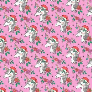 Christmas Unicorn on Pink Smaller 2 inch