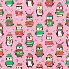 Christmas Holiday Winter Penguins in Ugly Sweaters Scarves & Hats On Pink Smaller 1,75 inch