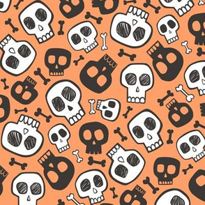 Skulls and Bones Halloween Black & White on Orange Small