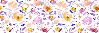 Watercolor mustard and purple flowers