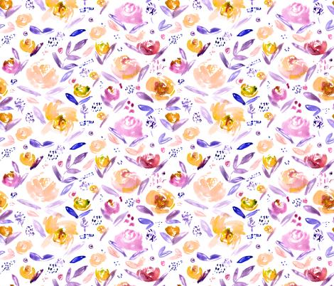 Watercolor mustard and purple flowers fabric by katerinaizotova on Spoonflower - custom fabric