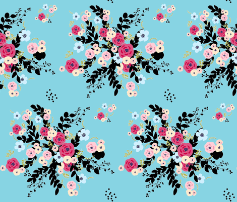 tapestry bouquet burst BRICK - LARGE 106-seabreeze fabric by drapestudio on Spoonflower - custom fabric