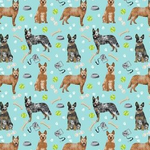 SMALL - australian cattle dog fabric blue and red heelers and toys fabric - light blue