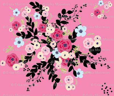 tapestry bouquet burst BRICK - LARGE 106- bubble gum