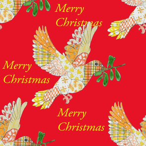 Merry Christmas Dove red
