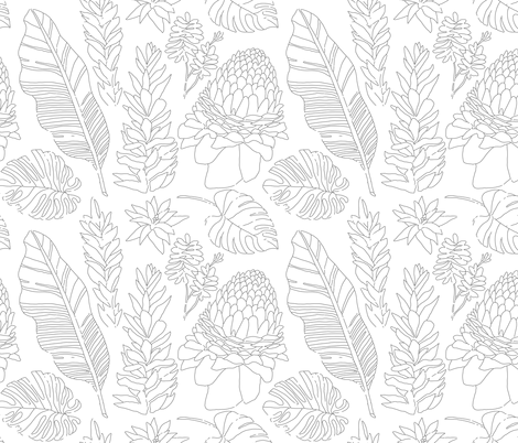 Black and White Sketched Tropical Paradise fabric by crystalgates on Spoonflower - custom fabric