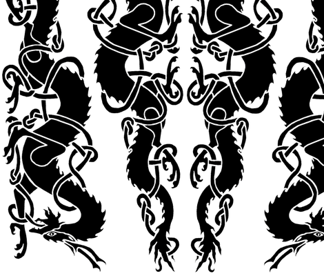 Celtic Dragons Facing Large Repeat fabric by ingridthecrafty on Spoonflower - custom fabric