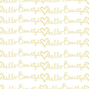 "8"" Hello Beautiful Quote Print Yellow"