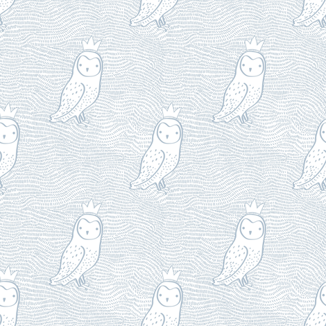 """4"""" Owl with Crown Blue  fabric by shopcabin on Spoonflower - custom fabric"""