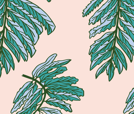Forest Leaf on Pink fabric by kelsey_krzmarzick_design on Spoonflower - custom fabric