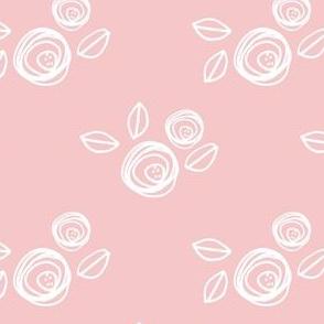 """4"""" White Roses Pink Back"""
