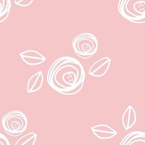 """8"""" White Roses Pink Back"""