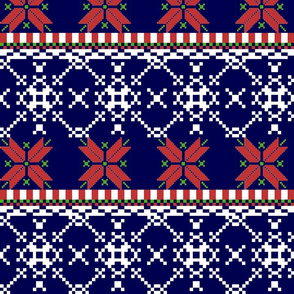first design snowflakes navy,red,green